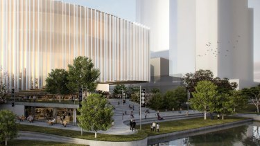 Conceptual render of the planned new Powerhouse museum in Parramatta.