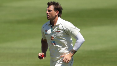 Victorian paceman James Pattinson in action for Australia A on Sunday.