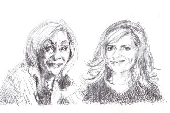 Noeline Brown as Collie and Julia Zemiro as Cass, as sketched by Archibald Prize-winning artist Lewis Miller.