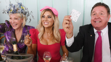 Kerri-Anne Kennerley, Jo Casamento and Peter Everett at Love.Fish Melbourne Cup celebrations in Barangaroo.