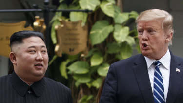 President Trump on Thursday with North Korean leader Kim Jong-un in Hanoi.