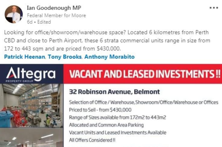 """""""All offers considered"""": Moore MP Ian Goodenough advertising properties for sale on LinkedIn."""