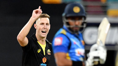 Billy Stanlake takes a wicket in game two.