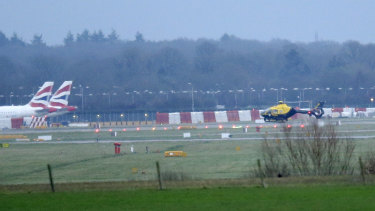 Grounded planes and helicopters at Gatwick.
