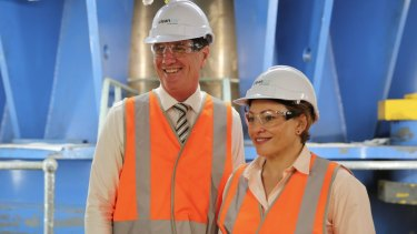 Jackie Trad - pictured with Anthony Lynham at Wivenhoe on Thursday - says CleanCo is one of the most significant changes in Queensland's energy markets.