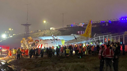Passenger plane skids off Istanbul runway and breaks into pieces