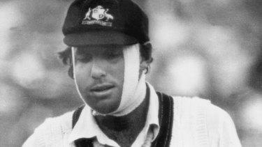 Australian batsman Rick McCosker playing with a broken jaw.
