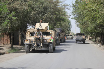Afghan security forces in Kunduz province north of Kabul, on Saturday. The Taliban has launched a new attack on Kunduz even as the insurgent group continued negotiations with the United States on ending America's longest war.