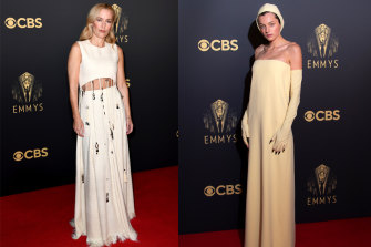 The Crown's Gillian Anderson in Chloe and Emma Corrin in Miu Miu at the Emmys ceremony in London.