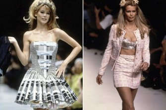 Claudia Shiffer in Versace in 1991 (left) and in Chanel in 1994.