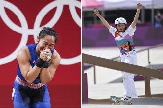Gold medals for weightlifter Hidilyn Diaz and skateboarder Nishiya Momiji.