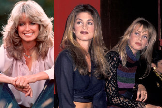 Give it the flick: Farrah Fawcett; Cindy Crawford and Claudia Schiffer, 1993.