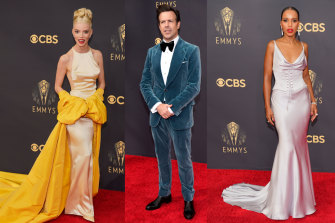 Glam squad: Anya Taylor-Joy in Christian Dior haute couture; Jason Sudeikis in Tom Ford; Kerry Washington in Etro.