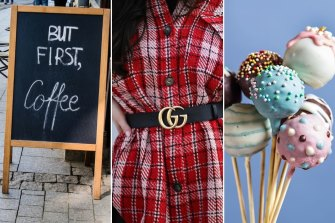 """Cheugy: Slogans like """"But first, coffee""""; The Gucci double """"G"""" belt; cake pops."""