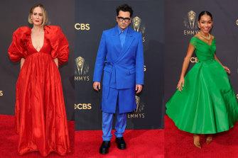 Sarah Paulson in Carolina Herrera, Dan Levy in Valentino haute couture and Yara Shahidi in Christian Dior at the Emmys.