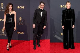 Kathryn Hahn in Lanvin; Josh O'Connor in Loewe; Ellen Pompeo in Elie Saab at the Emmy Awards ceremonies.