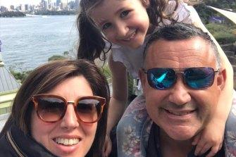 Deanna and John Barilaro with their daughter Sofia at Taronga Zoo on Sunday.