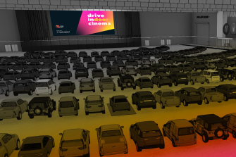 An artist's impression of the Drive In(Door) Cinema at the Melbourne Convention and Exhibition Centre.