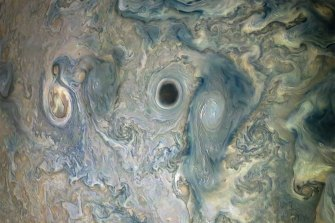 A vortex within a jet stream on Jupiter recorded in May, 2019 by NASA's Juno spacecraft.