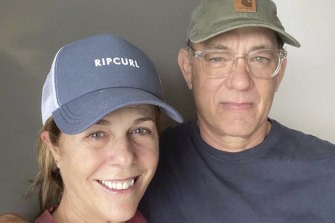 Hanks and Rita Wilson in isolation.