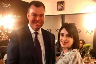 Restaurant owner Michelle Loielo, plaintiff on the case against Victoria's curfew, with Victorian shadow attorney-general Edward O'Donohue,