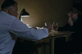 The shocking interrogation scene features Vladimir Azheppo, a former KGB interrogator in real life.