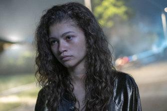 Zendaya as the troubled Rue in <i>Euphoria</i>.