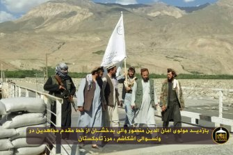 Footage from the Taliban's propaganda arm, al-Emara, shows insurgents carrying the group's flag at a bridge in Ishkashim between Afghanistan and Tajikistan.