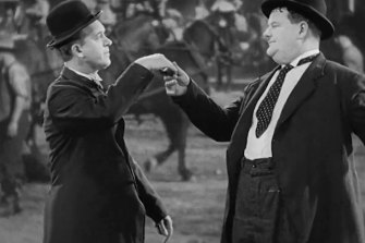 Would you care to dance? Stan Laurel (left) and Oliver Hardy trip the not-so-light fantastic in Way Out West.