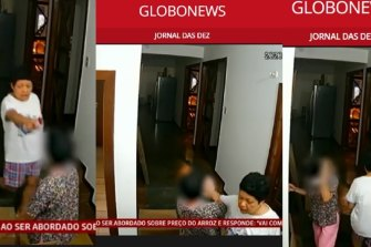Screenshot from GloboNews of video footage showing the Philippines' ambassador to Brazil with her housekeeper.