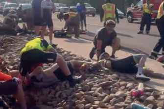 This photo provided by Tony Quinones shows the aftermath of a truck ramming into a crowd of cyclists in Show Low, Arizona on Saturday, June 19.