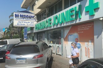 The Jounieh Pharmacy near Beirut. Its owner, Joy Abou Diwan, can only access 10 per cent of her normal supply of medication.