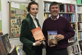 Local rural romance author and grazier Nicole Alexander with Richard Anderson at Wise Words in Moree.