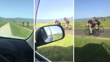 The man filmed himself driving along a shared cycleway and footpathto avoid cyclists, who were riding side-by-side on the road.