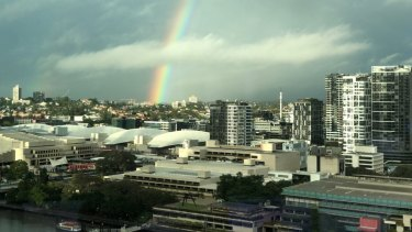 The rainbow above the River City on Sunday.