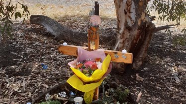 The memorial Harley Larking's family made for him in the vacant block where he died in Epping.