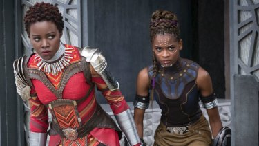Lupita Nyong'o and Letitia Wright in Black Panther, which won three Oscars.