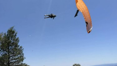 The man was lifted 10 metres up and swirled around before he was ejected out to the side of the fast-moving dust devil.
