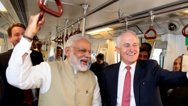 Prime Minister Malcolm Turnbull with Indian Prime Minister Narendra Modi on the Delhi Metro last year.