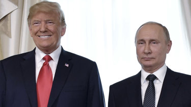 Donald Trump and Vladimir Putin in Helsinki in July.