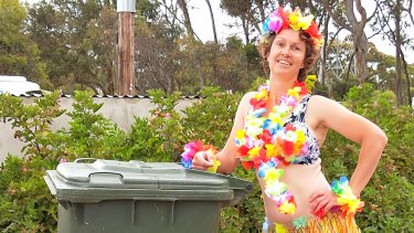 Rachel Young from Victoria Australia has been dressing up for Bin Isolation Outing every week.