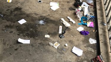 Drug paraphernalia left by users at the Richmond public housing estate, near the safe injecting room.