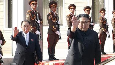 North Korean leader Kim Jong Un, right, with Kim Yong Chol.
