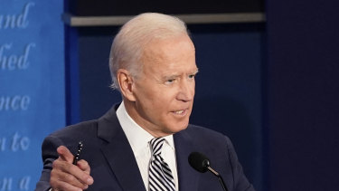 During the clash: Democratic presidential candidate former vice-president Joe Biden.