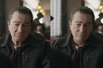 "In The Irishman, Robert De Niro (at left) gets a digital ""facelift"" to play his character as a much younger man (at right)."