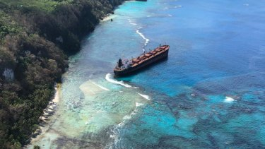The MV Solomon Trader aground at Rennell Island.