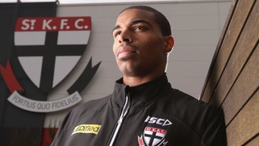 St Kilda's international rookie Jason Holmes in 2014 ... he was later delisted by the club.