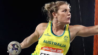 Dani Stevens on her way to winning gold at the Commonwealth Games in 2018.