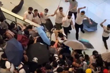 Men wearing white shirts have been filmed attacking protesters in Hong Kong. Vision on social media shows men wielding rods and beating demonstrators at Yuen Long MTR station.