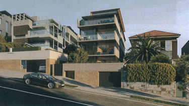 The Brook St Coogee apartment block (middle) as proposed to the council last year.
